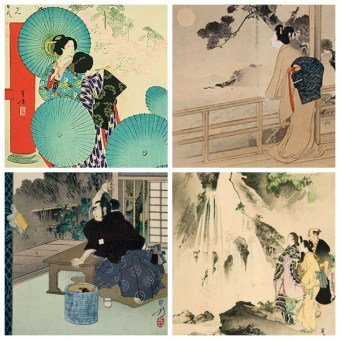 Japanese Woodblock Print - Meiji, Women and Children, Mizuno TOSHIKATA