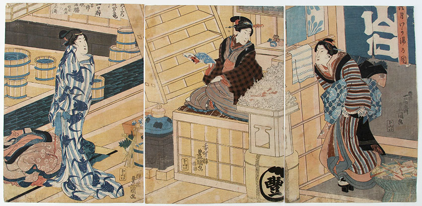 Utagawa TOYOKUNI III At the bath house