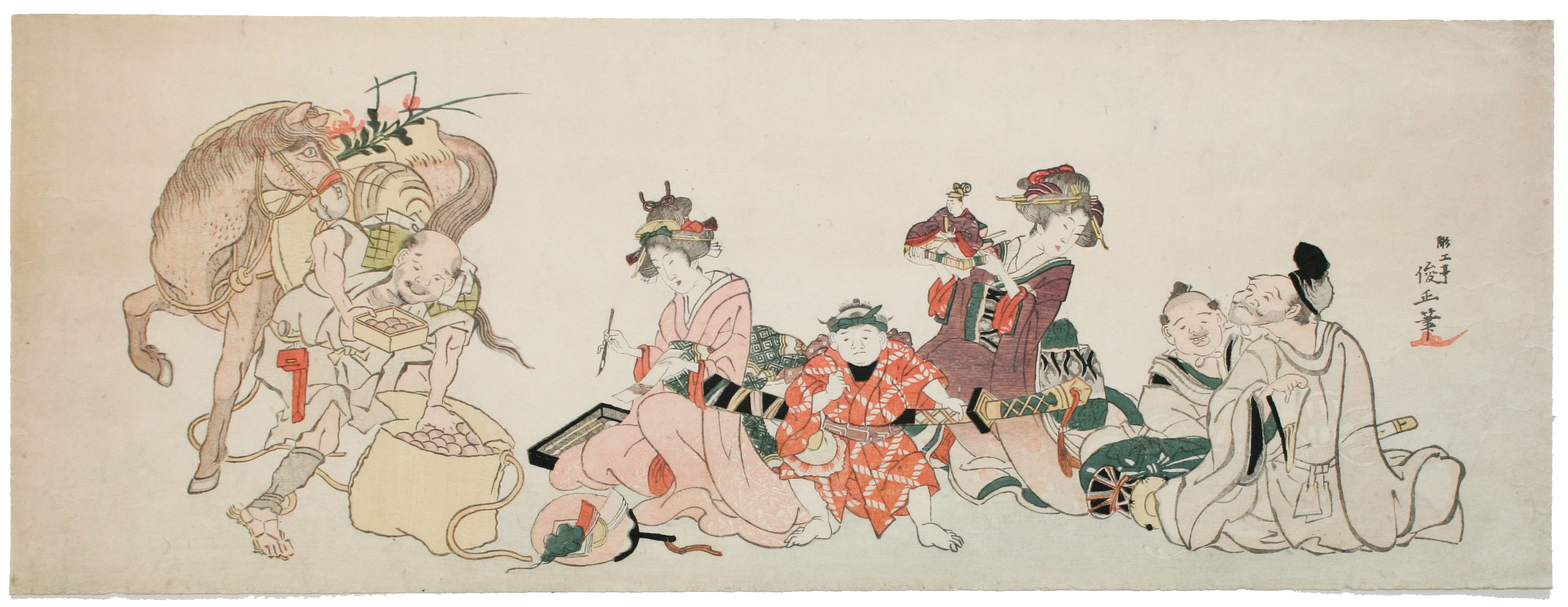 Chokotei TOSHIMASA - Original Japanese Woodblock Print - Five Great Festivals of the Year