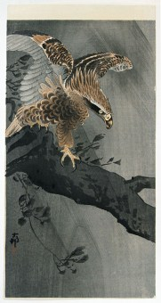 Ohara Koson Eagle with spread wings on tree trunk