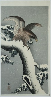 Ohara Koson Eagle on Snow Covered Branch