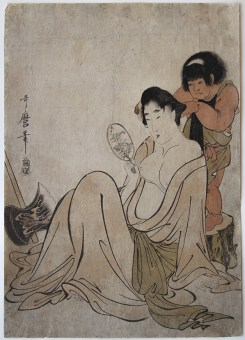 Kitagawa UTAMARO (1753-1806) Kintarô Combing the Hair of Yamauba