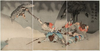 Nagamine SHUKO (1859-1895) Ushiwakamaru performs Training of Fencing