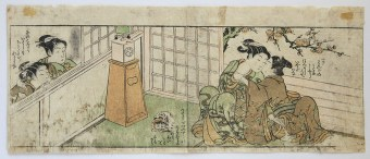 Shunga with clock and cat