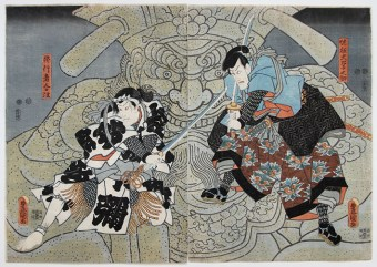 Utagawa TOYOKUNI III Actors performing the final scene of a kabuki play