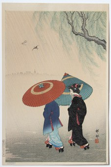 Ohara KOSON Two Women with Umbrellas during a Rain Shower next to a Willow