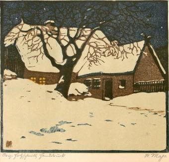 Helene Mass, House in a Winter Night woodblock print