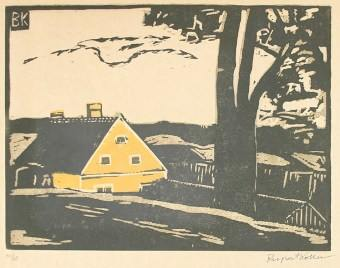 Koller-Pinell, Yellow House woodblock print