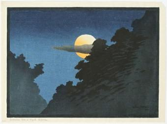 Lilian Miller, Moonrise over Kyoto Hill, woodblock print
