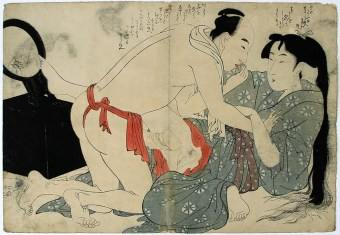 Utamaro Shunga with mirror japanese woodblock print WEB
